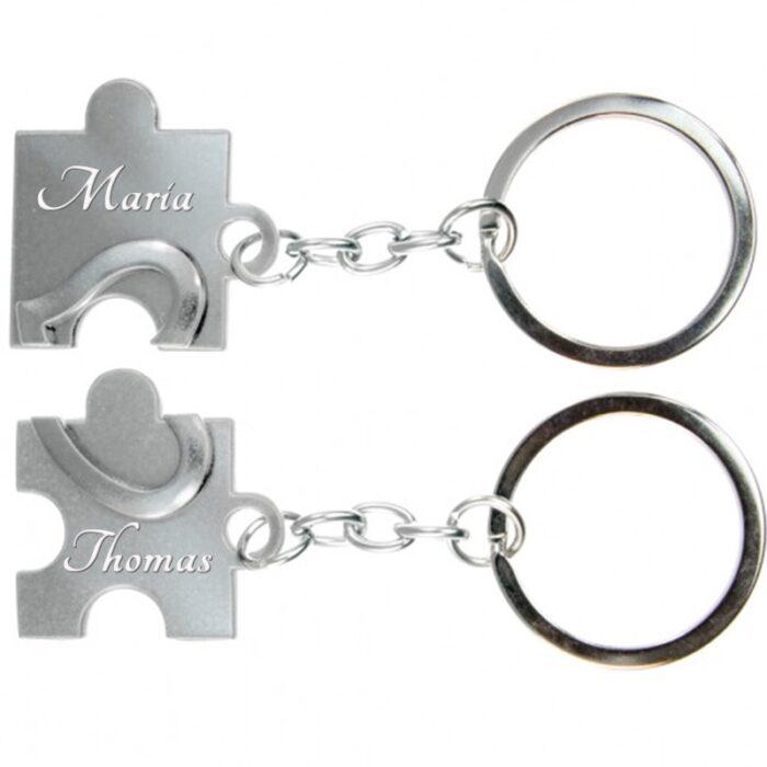Geschenk Puzzle Schlüsselanhänger mit Gravur für Paare