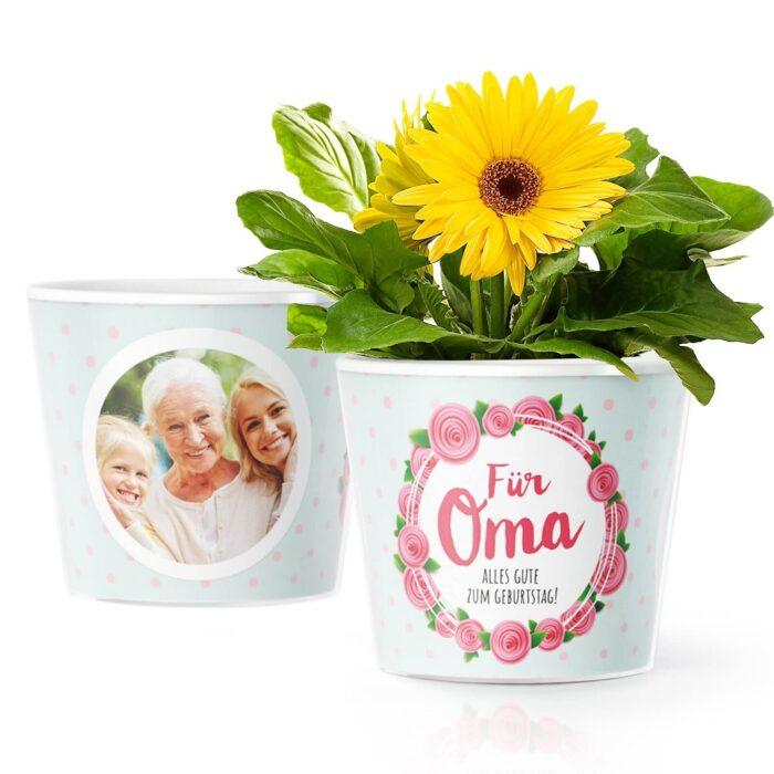 Blumentopf mit Foto Geschenk