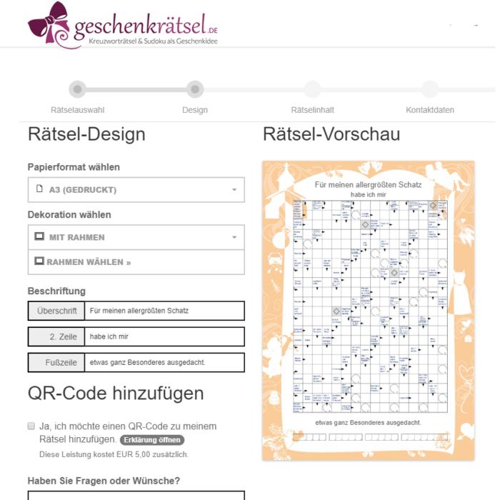 Kreuzworträtsel Online Erstellen als Geschenk