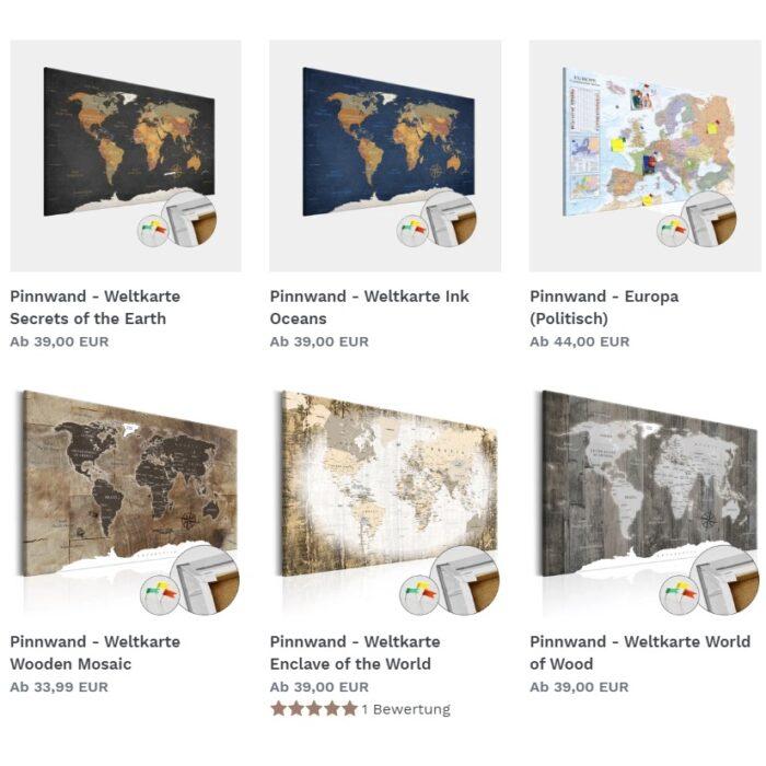 Weltkarten Pinnwände als Geschenk