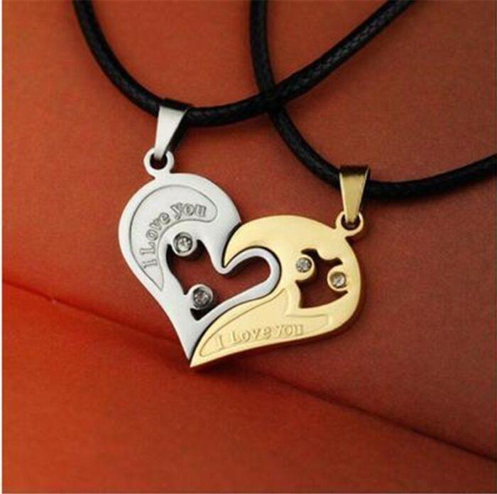 Herz Puzzle Anhänger Halskette